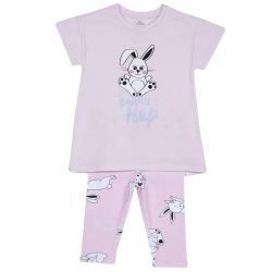 Pijama copii Chicco, tricou si pantalon, roz cu model, 92