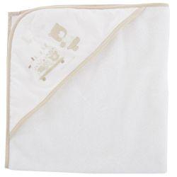 Prosop baie bebelusi Chicco, cu colt-gluga, alb cu bej, 40865