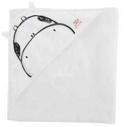 Prosop baie bebelusi Chicco cu colt-gluga, alb cu desen negru, 40864