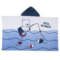 Prosop plaja pentru copii, Chicco, alb cu bleumarin, 99
