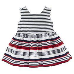 Rochie copii Chicco, alb cu dungi rosii si bleumarin, 03195