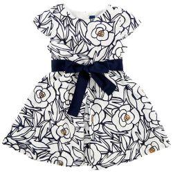 Rochie eleganta copii Chicco, alb cu trandafiri bleumarin, 03271