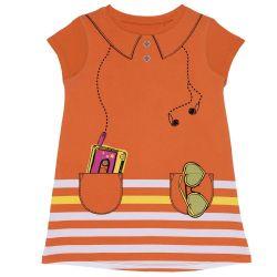 Rochie fete Chicco, maneca scurta, portocaliu, 122