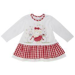 Rochita copii Chicco, maneca lunga, alb cu carouri rosii, 03188