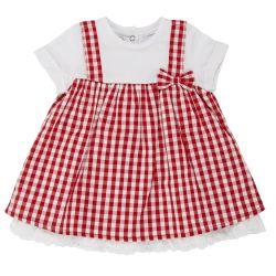 Rochita copii Chicco, maneca scurta, alb cu carouri rosii, 03236