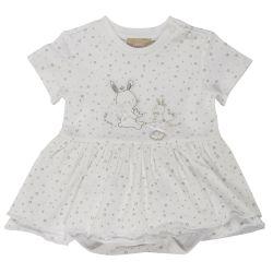 Rochita maneca scurta copii Chicco, alb cu argintiu, 03229