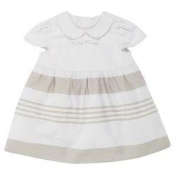 Rochita maneca scurta copii Chicco, alb cu bej, 03224