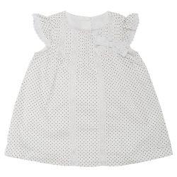 Rochita maneca scurta, copii Chicco, alb cu buline gri, 03137