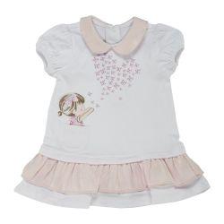 Rochita maneca scurta copii Chicco, alb cu roz, 03223