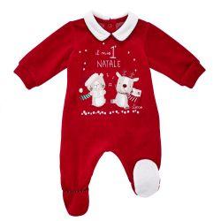 Salopeta bebelusi Chicco, Mos Craciun, deschidere scutec, rosu, 21550