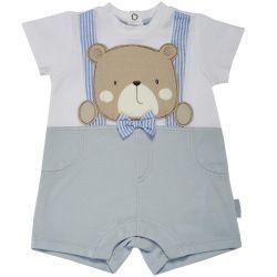 Salopeta bebelusi Chicco, scurta, alb cu bleu, 50762