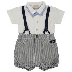 Salopeta bebelusi Chicco, scurta, alb cu bleumarin, 50757