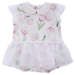 Salopeta bebelusi Chicco, scurta, fetite, alba cu lalele roz si tutu, 50750