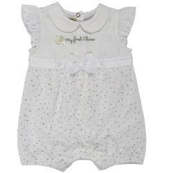 Salopeta bebelusi Chicco, scurta, inchidere spate, fetite, alb cu argintiu, 50766