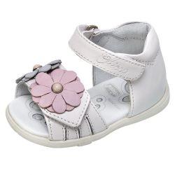 Sandale copii Chicco, piele naturala, alb, 20