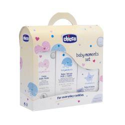 Set cosmetice Chicco Baby Moments, gel dus, sampon, lotiune si apa colonie
