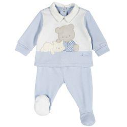 Set pantalon + bluza copii Chicco, albastru cu roz, 50