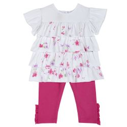Set bluzita si pantaloni fetite, Chicco, roz cu model, 104