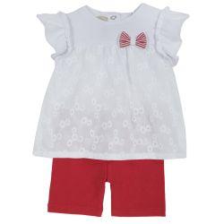 Set doua piese Chicco, tricou si pantalon scurt, alb cu rosu, 68