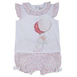 Set tricou si pantalon fete, Chicco, roz cu model, 74