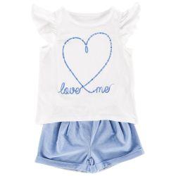 Set tricou si pantalon scurt copii Chicco, fetite, alb cu bleu, 76203