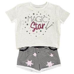 Set tricou si pantalon scurt, copii Chicco, gri cu negru, 76205