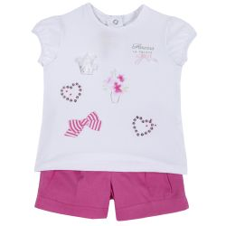 Set tricou si pantalon scurt copii Chicco, roz, 98