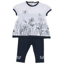 Set tricou si pantalonas copii Chicco, alb cu bleumarin, 56