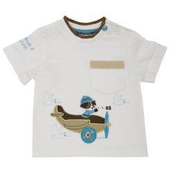 Tricou copii Chicco, baieti, maneca scurta, alb, 06384
