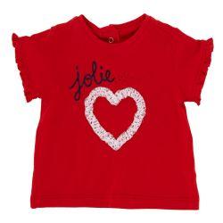 Tricou maneca scurta copii Chicco, fetite, rosu, 06374