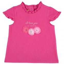Tricou copii Chicco, maneca scurta, roz cu model, 104