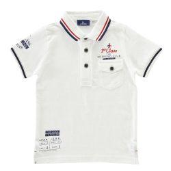 Tricou pentru copii Chicco, polo cu maneca scurta, alb, 33430