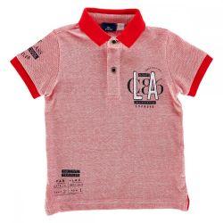 Tricou pentru copii Chicco, polo cu maneca scurta, rosu cu alb, 33431