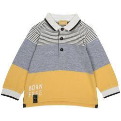 Tricou polo copii Chicco, gri cu galben, 98