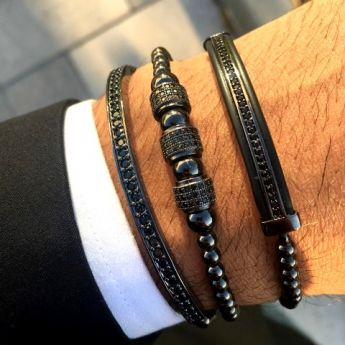 All Black Set 3 Brooks Bracelets