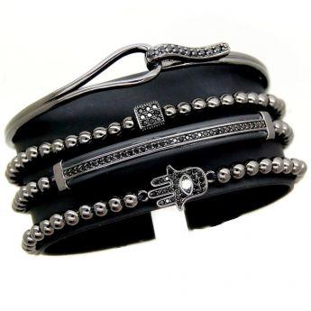 All Black Set 4 Brooks Zircon Bracelets