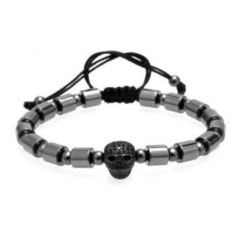 Brooks All Black Skull Bracelet