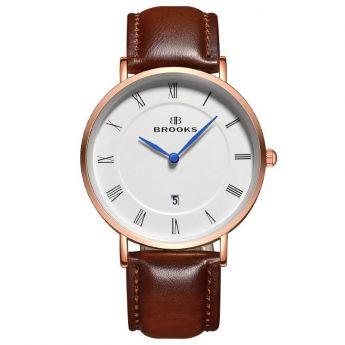 Ceas Brooks Rose Gold Just Date Extraplat