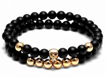 Set Gold Skull Stone Bracelet
