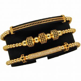 Luxury Gold 14K Set 3 Zircon Bracelets