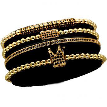 Luxury Set 4 Gold 14K Zirconium Men Bracelets