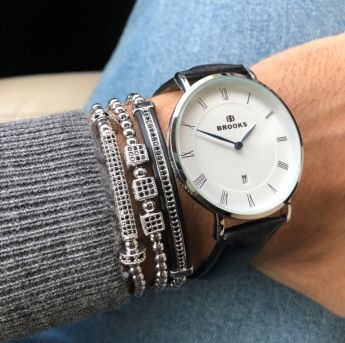 Luxury Set Silver Watch&Brooks Bracelets