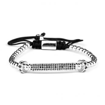 Silver Luxury Men Zircon Bracelet