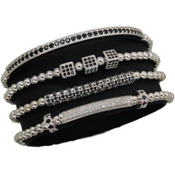 Luxury Set 4 Silver Brooks Bracelets