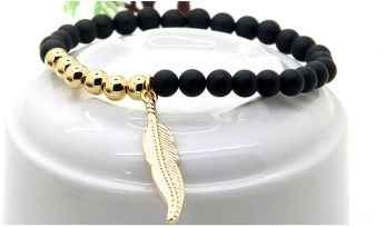 Stone Leaf Gold Bracelet
