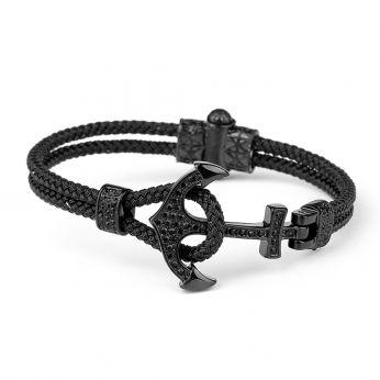 Black Anchor Wire Zircon Men Bracelet