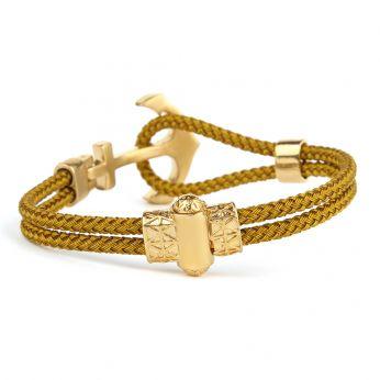 Gold Anchor Wire Zircon Men Bracelet