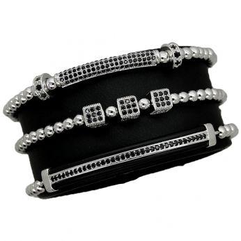 Luxury Set 3 Silver Brooks Bracelets