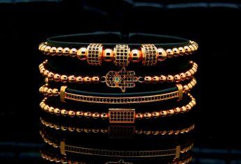 Luxury Set 4 Brooks Rose Gold 14K Bracelets