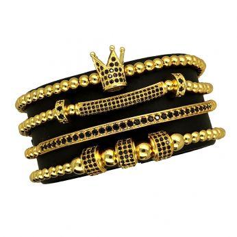 Luxury Set Gold Crown 4 Brooks Bracelets